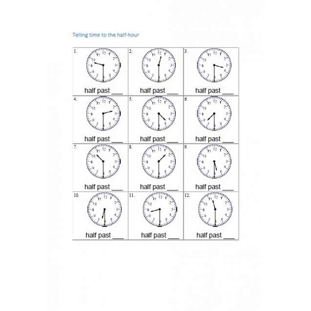Telling time to the half-hour