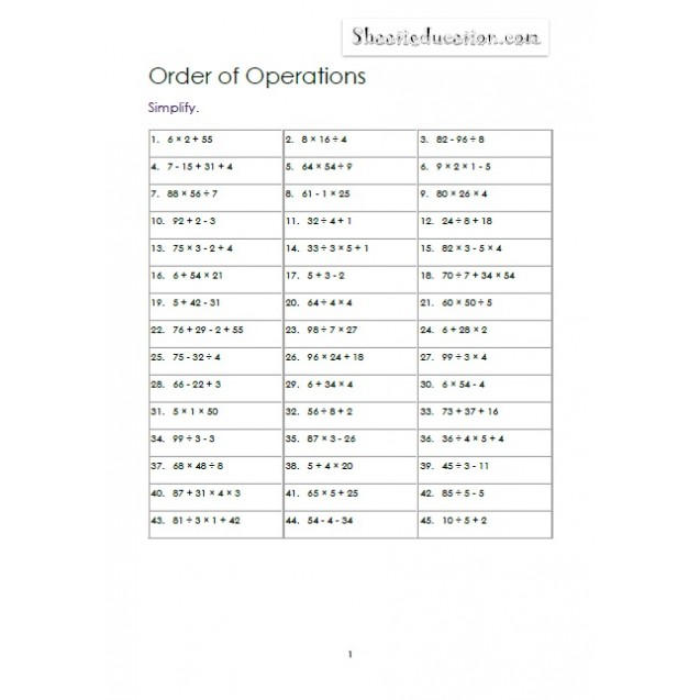 Order of Operations 3-4 Numbers no parenthesis