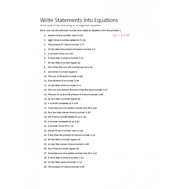 Write Statements into Equations