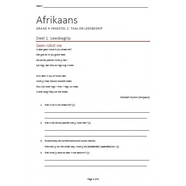 Afrikaans FAL Graad 4 Kwartaal 2 Taal en Begrip Eksamen 1
