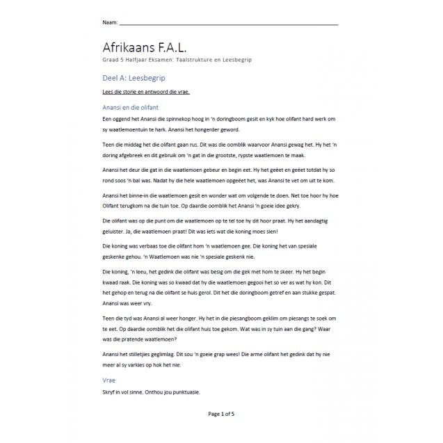 Afrikaans FAL Graad 5 Kwartaal 2 Taal en begrip Eksamen